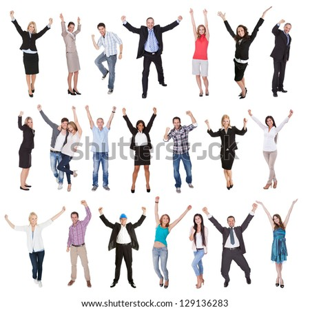 Photos of excited people cheering. Isolated on white background