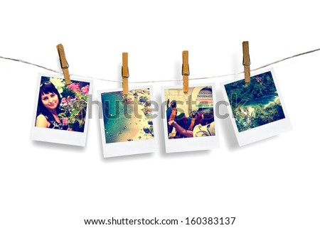 photos of holiday people hanging on clothesline with sea background