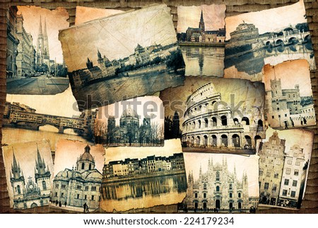 Photos of  Prague, Rome, Colosseum, Maastricht,  Duomo,   Florence,  Berlin,  Stockholm,   Vienna, Monaco stylized in retro.