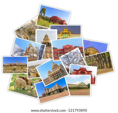 photos of tourist attraction at Bangalore City India collages in shape of bangalore map on white background - stock photo