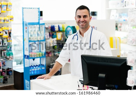 Photos taken on a real pharmacy. - stock photo