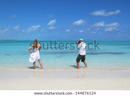 Photoshooting. Exuma, Bahamas - stock photo