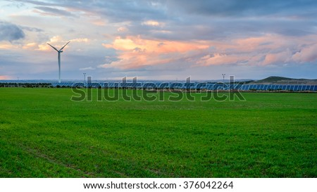 Photovoltaic and wind farms  - stock photo