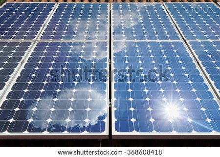 photovoltaic panel for sustainable energy - stock photo