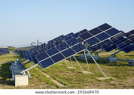 Photovoltaic panels for renewable electric production, Navarra, Aragon, Spain. - stock photo