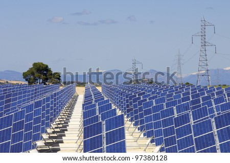 photovoltaic panels for renewable electrical energy production - stock photo