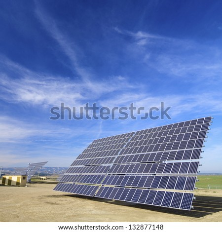 photovoltaic panels for renewable solar energy production - stock photo
