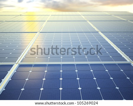 Photovoltaic panels - solar energy concept - stock photo