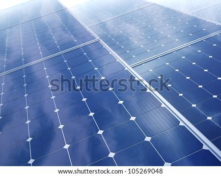 Photovoltaic panels - solar energy concept - stock photo