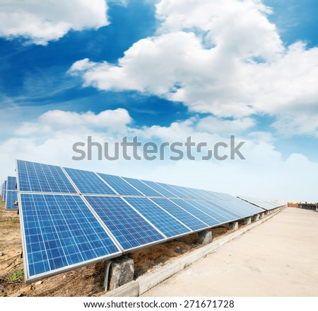 photovoltaic panels - solar panel to produce clean, sustainable, renewable energy - alternative electricity source - stock photo