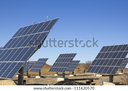 Photovoltaic plant. Green and Renewable Energy. - stock photo
