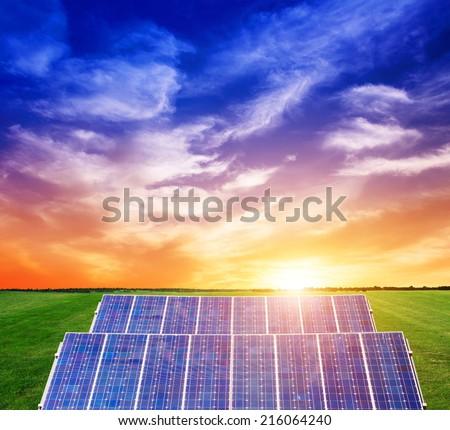 Photovoltaic power generation on the prairie  - stock photo