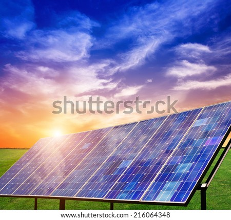 Photovoltaic power generation on the prairie  - stock photo