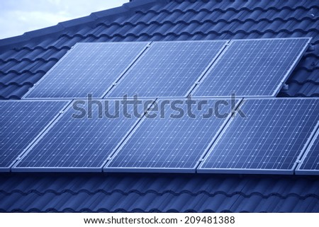 Photovoltaic roof panels  - stock photo
