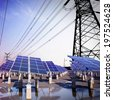 Photovoltaic solar and power tower  - stock photo