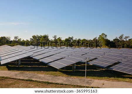 Photovoltaic solar energy panels farm for renewable energy or electricity with blue sky