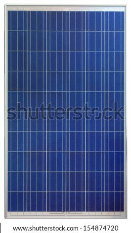 Photovoltaic Solar Panel Isolated on White Background - stock photo