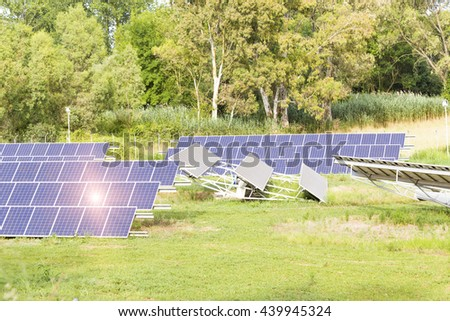 photovoltaic solar panels, in the green forest