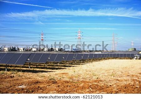 photovoltaic solar station - stock photo