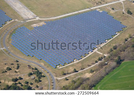 Photovoltaic system bird's-eye view - stock photo