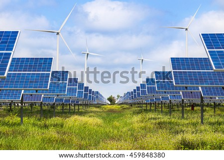 Photovoltaics module solar panels and wind turbines generating electricity in solar farm station alternative energy from the natural