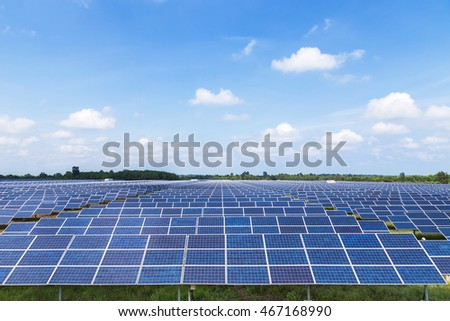 Photovoltaics module solar panels in solar farm station