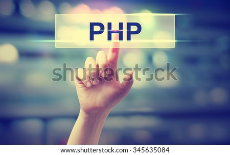 PHP concept with hand pressing a button on blurred abstract background - stock photo
