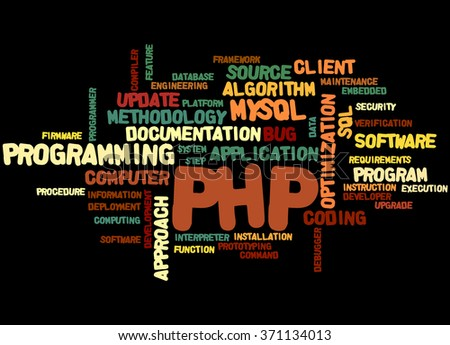 PHP programming, word cloud concept on black background.