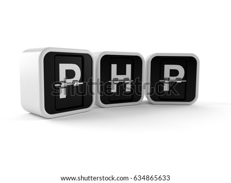 PHP text isolated on white background. 3d illustration