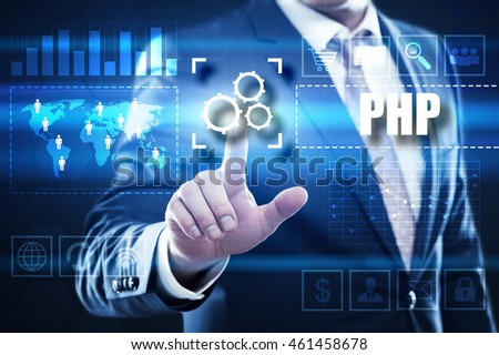 php, web development, business, technology and internet concept: businessman are using a virtual computer and are selecting php.