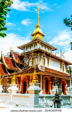 Phra Chao Than Jai Mondop of Darabhirom Forest Monastery at Chiangmai Province, Thailand. - stock photo