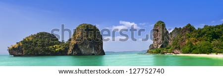 Phra Nang Beach, Thailand, Krabi Province, Panoramic picture - stock photo
