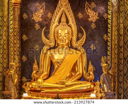 "Phra phuttha chinnarat is one of the most beautiful buddha image. This buddha image located in a public temple called ""Wat Phra Sri Rattana Mahatat Woramahawihan"" in Thailand. - stock photo"