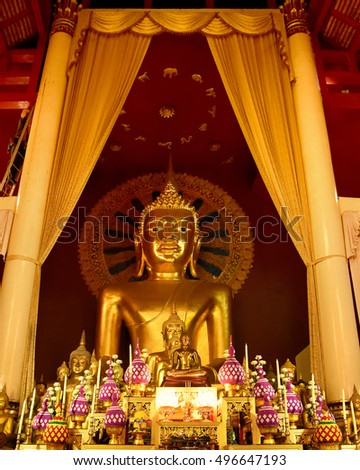 Phra sri sanphet statue in Wat Phra Singh temple, Buddha statue in Chiang mai, North of Thailand. This is a public domain of treasure of Buddhism' no restrict is copy or use, no name of artist appear.