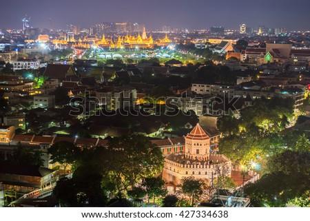 Phra Sumen Fort with grand palace at night , Bangkok Thailand . - stock photo