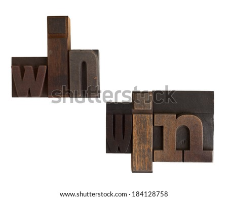 phrase win-win in vintage wooden letterpress type, scratched and stained, isolated on white background - stock photo