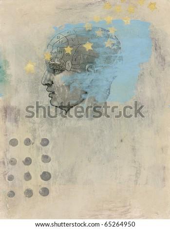 Phrenology head with stars. Acrylic and Gel medium transfer on paper mixed medium art. - stock photo