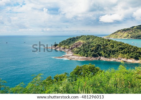 Phromthep Cape, Beautiful Andaman sea view in Phuket island, Thailand. Blue sky and turquoise colour sea,Island in Thailand