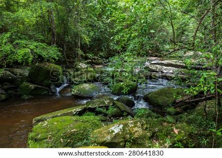 Phu Kradueng national park ,nature tham yai waterfall and tree green beautiful ,Thailand - stock photo