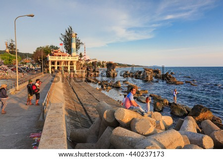 Phu Quoc island, Kien Giang province, Vietnam - May 02, 2016: amazing sunset at breakwater pier on Phu Quoc island . View sundown on the sea of Phu Quoc island, Vietnam