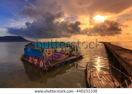Phu Quoc island, Kien Giang province, Vietnam - May 03, 2016: caf�?�© floating the fishermen's in Phu Quoc Island. This cafe serves the fishermen in the fishing village every day to go fishing
