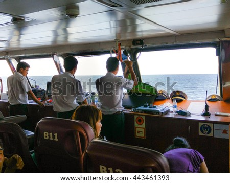 Phu Quoc island, Kien Giang province, VietNam - May 03, 2016 : Images of cockpit of sea ferry from the mainland to the island of Phu Quoc
