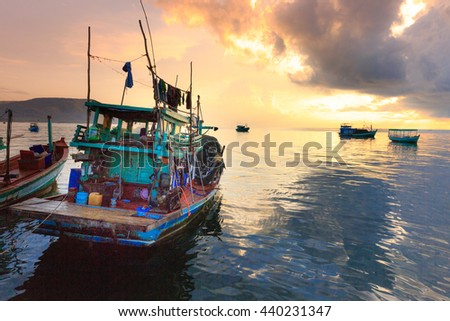 Phu Quoc island, Kien Giang province, Vietnam - May 03, 2016: local fishmen's daily life on the boat at Phu Quoc island , Vietnam.