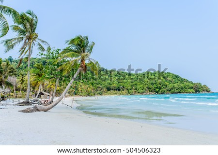 Phu Quoc Island, Kien Giang, Vietnam 11 March 2016: beautiful lanscapes of beach near a home stay in SAO Beach in Phu Quoc Island, foreign tourist