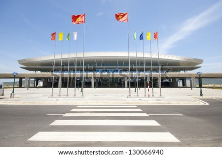 PHU QUOC, VIETNAM - FEBRUARY 26: Phu Quoc International Airport on February 26, 2013 in Phu Quoc, Vietnam. The Airport was completed in November 2012 and was put into operation on 2 December 2012 - stock photo