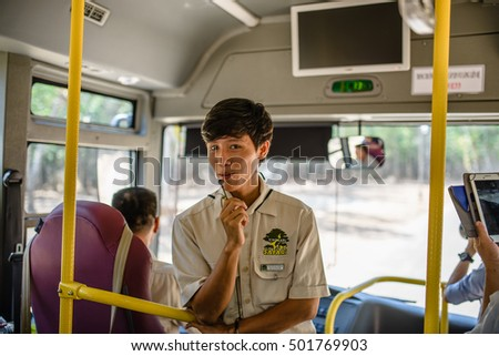 Phu Quoc, Vietnam 10 March 2016: male instructor guiding tourists Vinpearl Safari, Phu Quoc Island, Vietnam