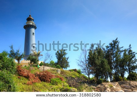 Phu Yen Province, Vietnam - August 15, 2015: Old lighthouse built by the French printer 1890. It is still operating at DaiLanh Cape, Phuyen Province, Vietnam