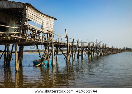 Phu Yen, Viet Nam - Mar 31, 2016: Ong Cop bridge ( Mr Tiger 's wooden bridge), the longest wooden bridge in Vietnam