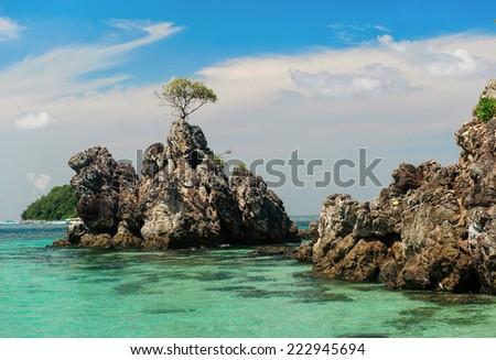 Phuket coastline, Kai Nui Island, sunny day - stock photo