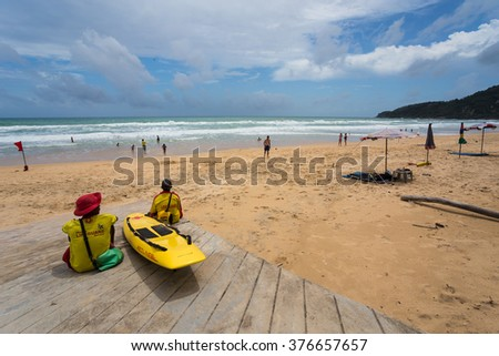 Phuket-Karon beach-July 10,2015:Some unidentified people are relaxing on Karon beach during low season in Phuket, Thailand. Karon is one of famous beach located in the west coast of Phuket island